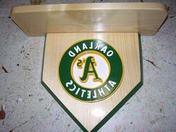 Bobble heads Oakland A's Home plate shelf to display Handmad
