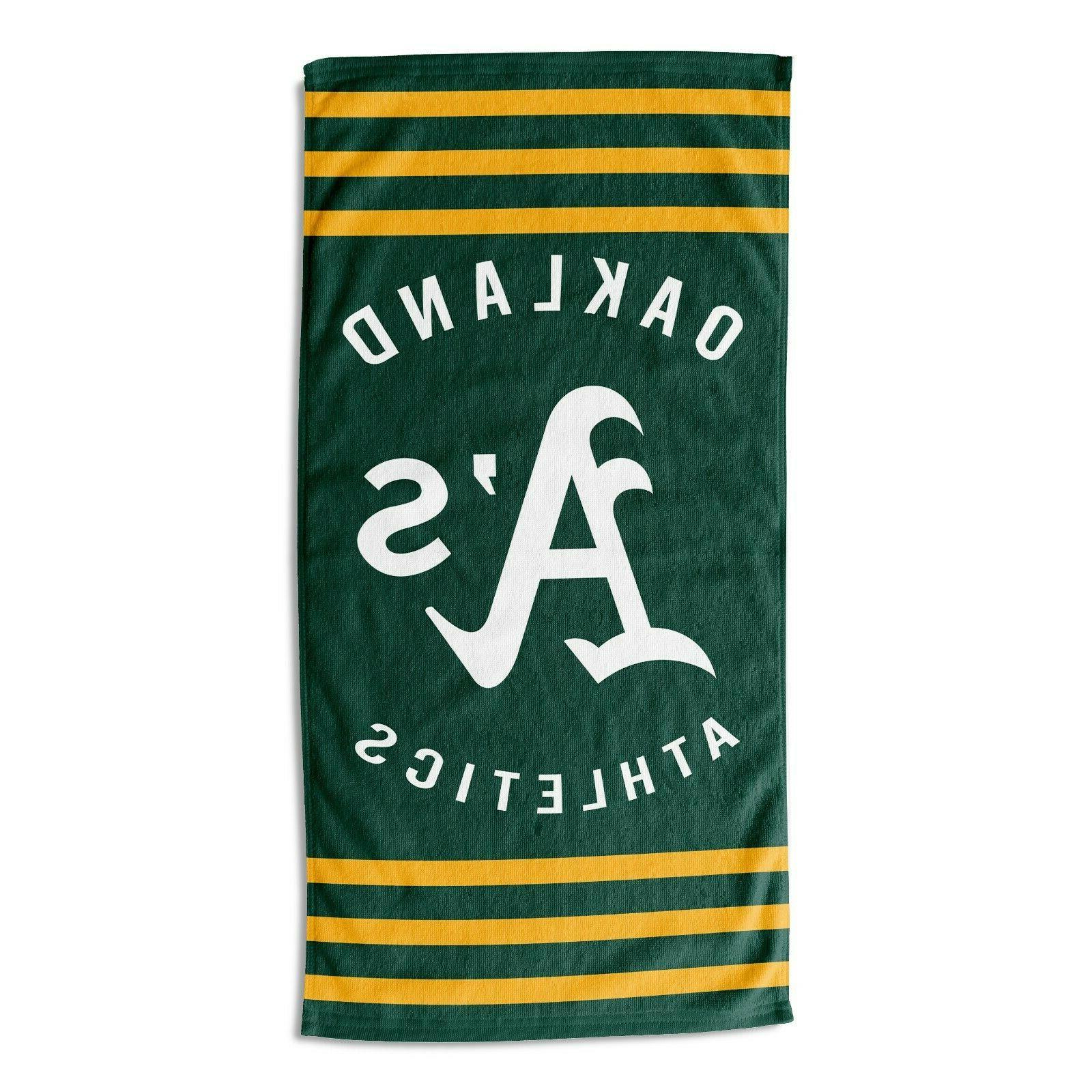 oakland athletics beach towel stripes official mlb
