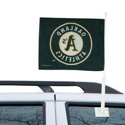 "Oakland Athletics 11"" x 15"" Green Car Flag"